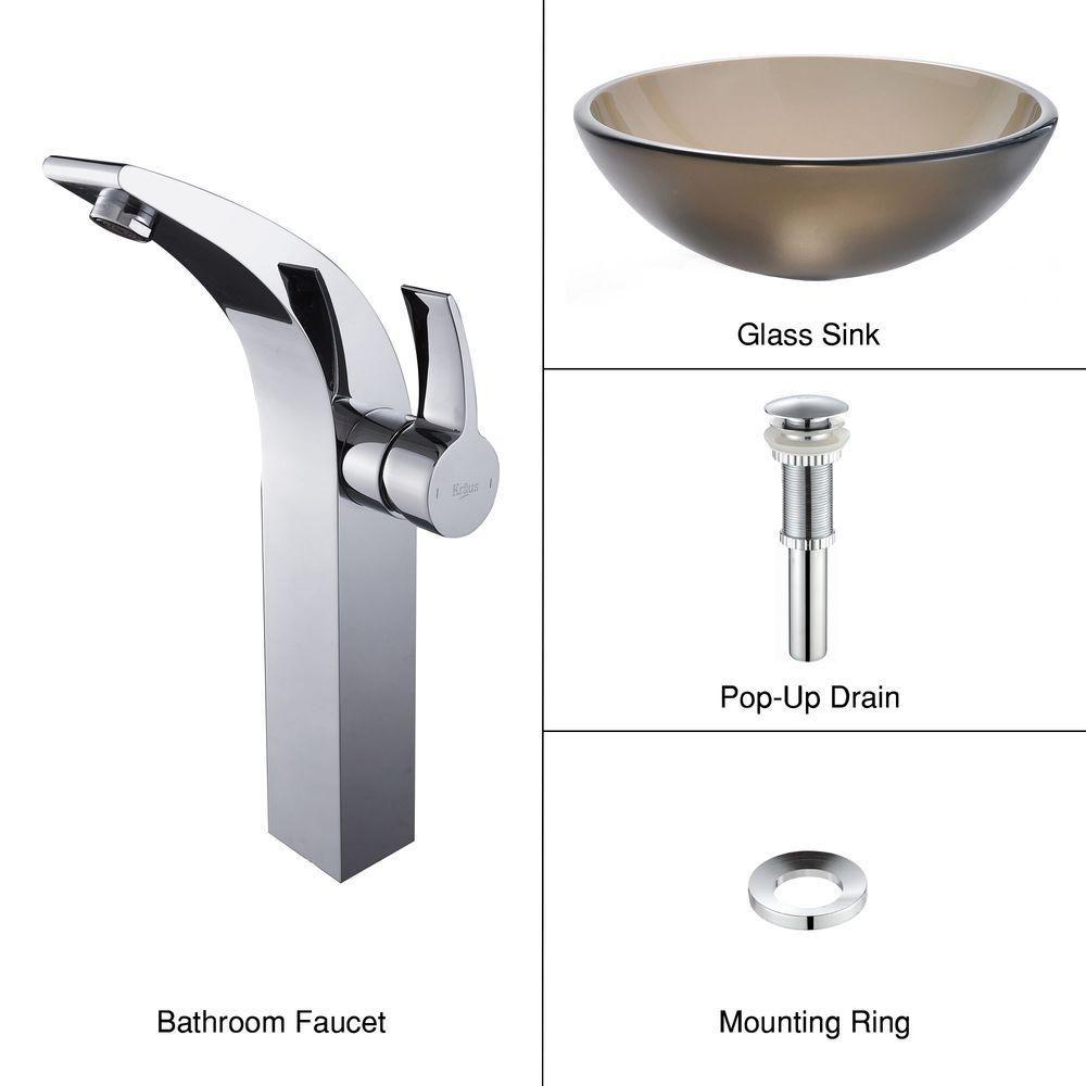 Lavabo-vasque en verre brun givré et robinet Illusio, chrome