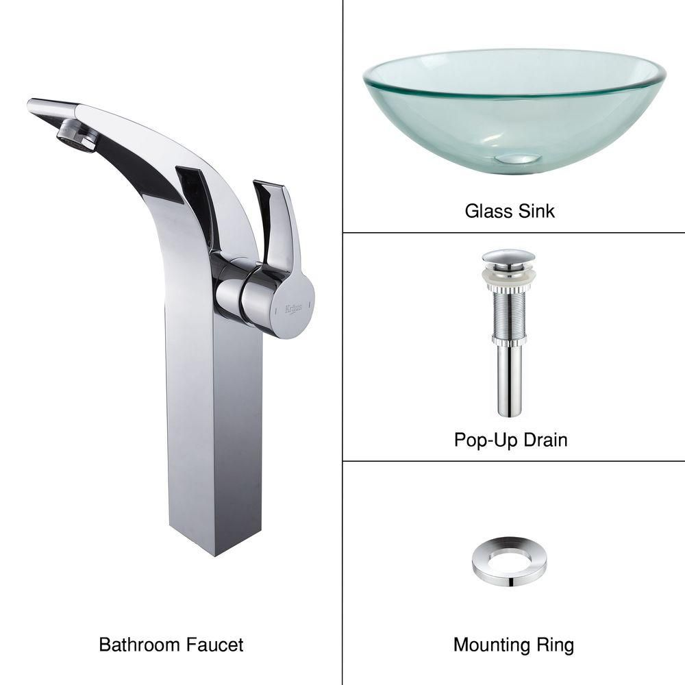 Clear Glass Vessel Sink with Illusion Faucet in Chrome