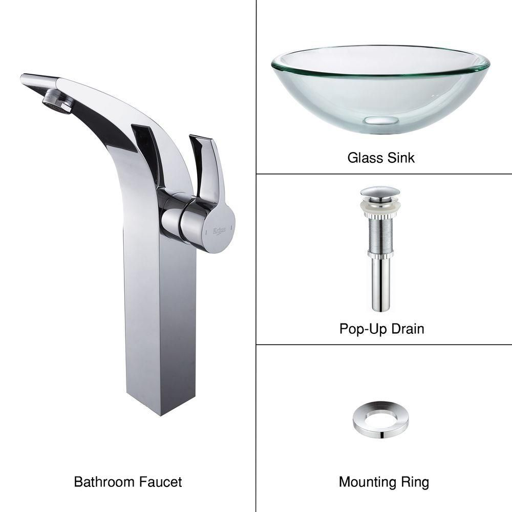 Clear Glass Vessel Sink with Illusio Faucet in Chrome