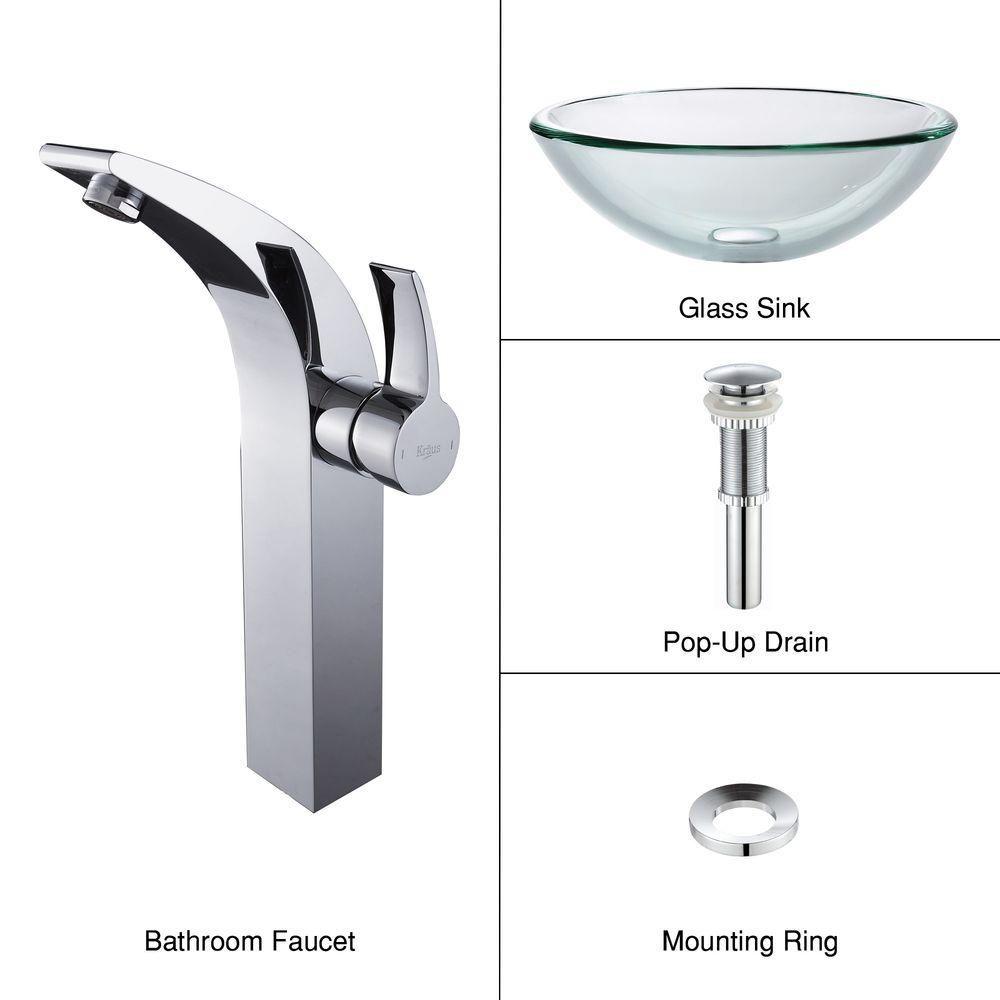 Lavabo-vasque en verre transparent de 19 mm d'épaisseur et robinet Illusio, chrome
