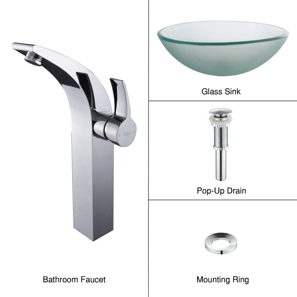 Frosted Glass Vessel Sink with Illusio Faucet in Chrome
