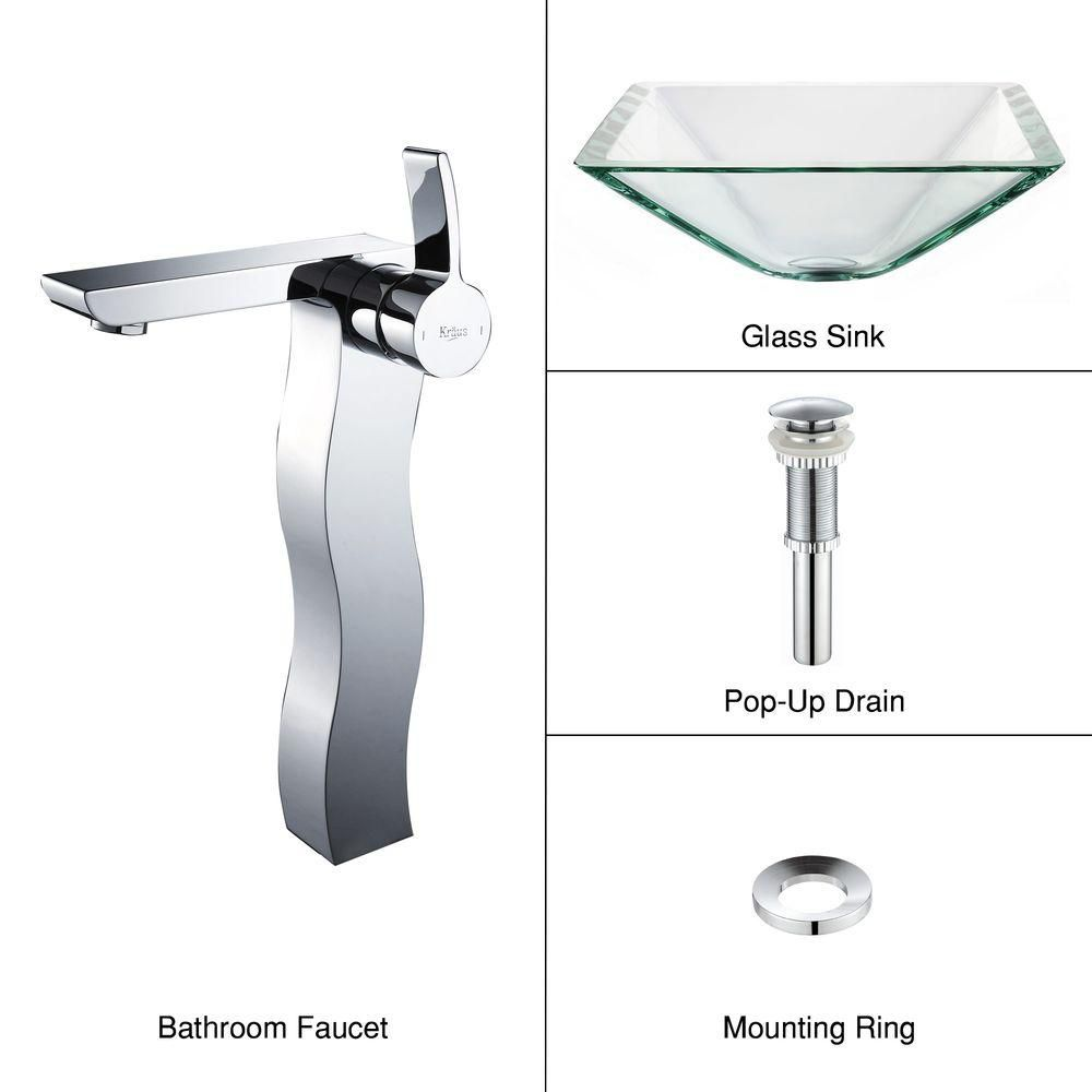 Clear Glass Vessel Sink in Aquamarine with Sonus Faucet in Chrome