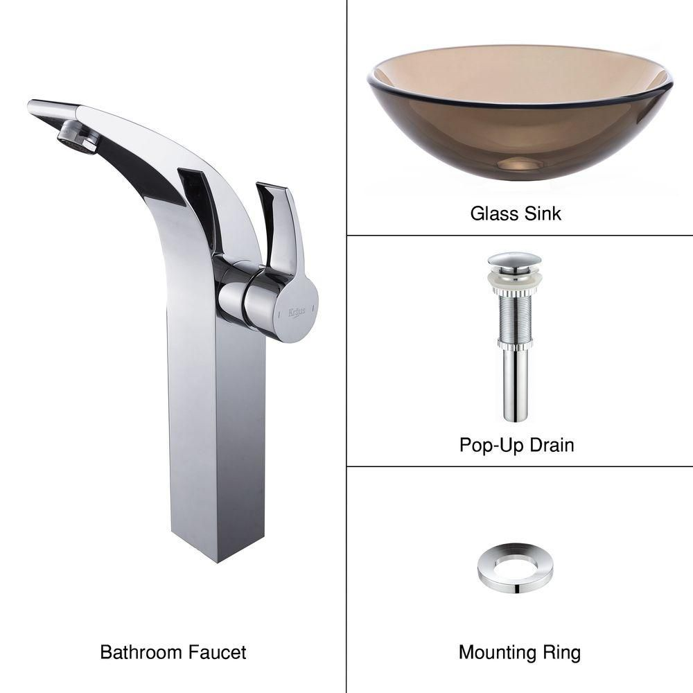Clear Glass Vessel Sink in Brown with Illusio Faucet in Chrome