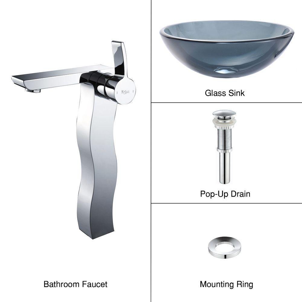 Lavabo-vasque en verre noir transparent et robinet Sonus, chrome