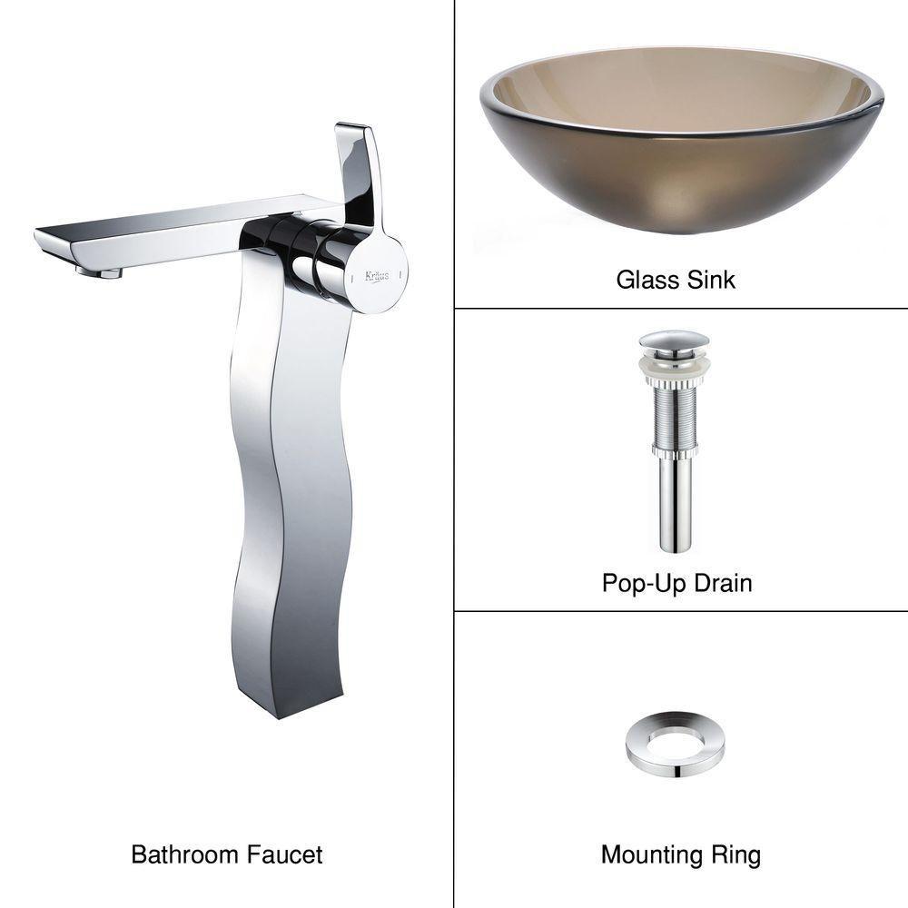Lavabo-vasque en verre brun givré et robinet Sonus, chrome
