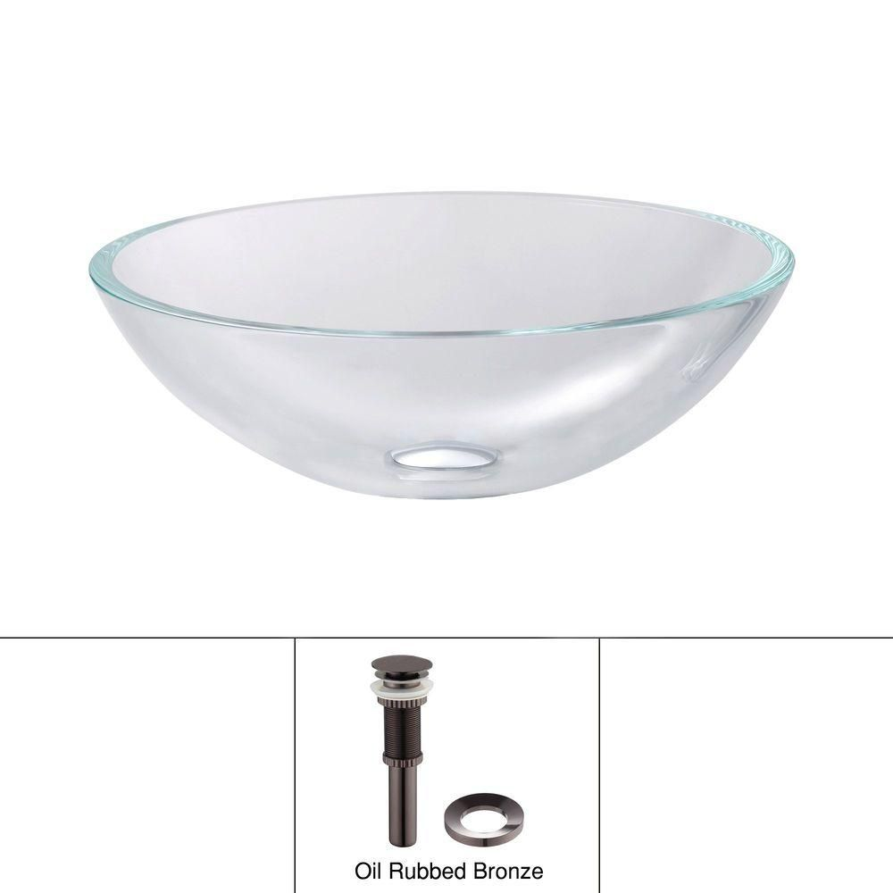 Glass Vessel Sink in Crystal Clear with Drain in Oil-Rubbed Bronze