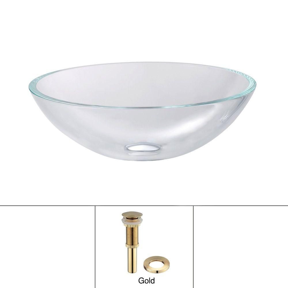 Glass Vessel Sink in Crystal Clear with Drain in Gold