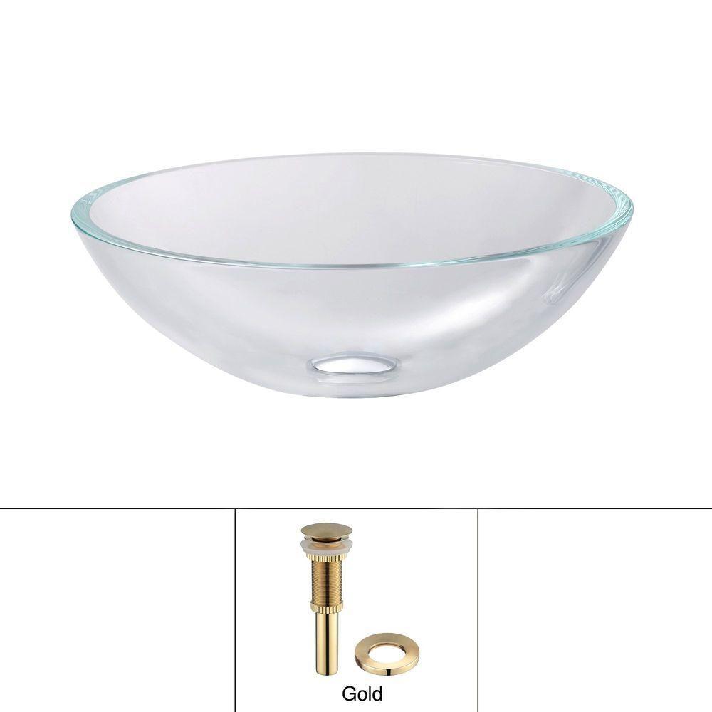 Lavabo-vasque en cristal avec drain escamotable et anneau de montage, or