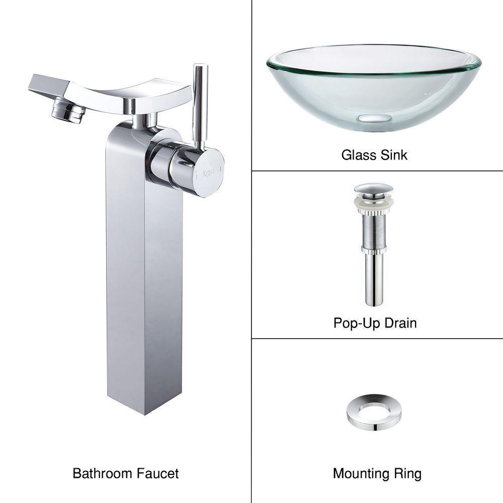 Lavabo-vasque en verre transparent de 19 mm d'épaisseur et robinet Unicus, chrome