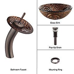 Kraus Lavabo-vasque en verre Luna et robinet à cascade, bronze huilé
