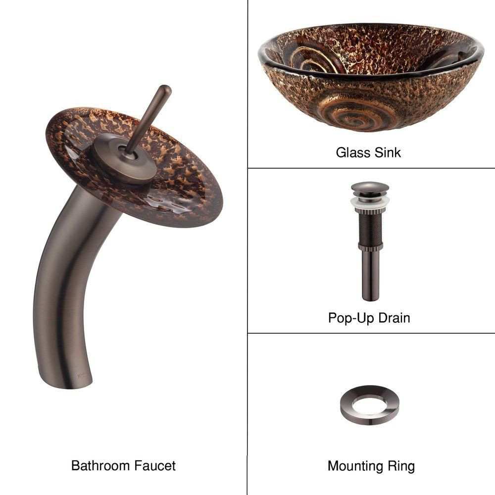 Luna Glass Vessel Sink with Waterfall Faucet in Oil-Rubbed Bronze