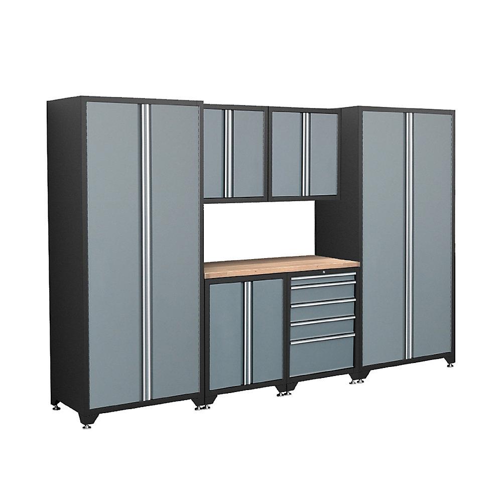 Ensemble d\'armoires soudées de 7 pièces de la série Pro avec cadre noir et  portes grises