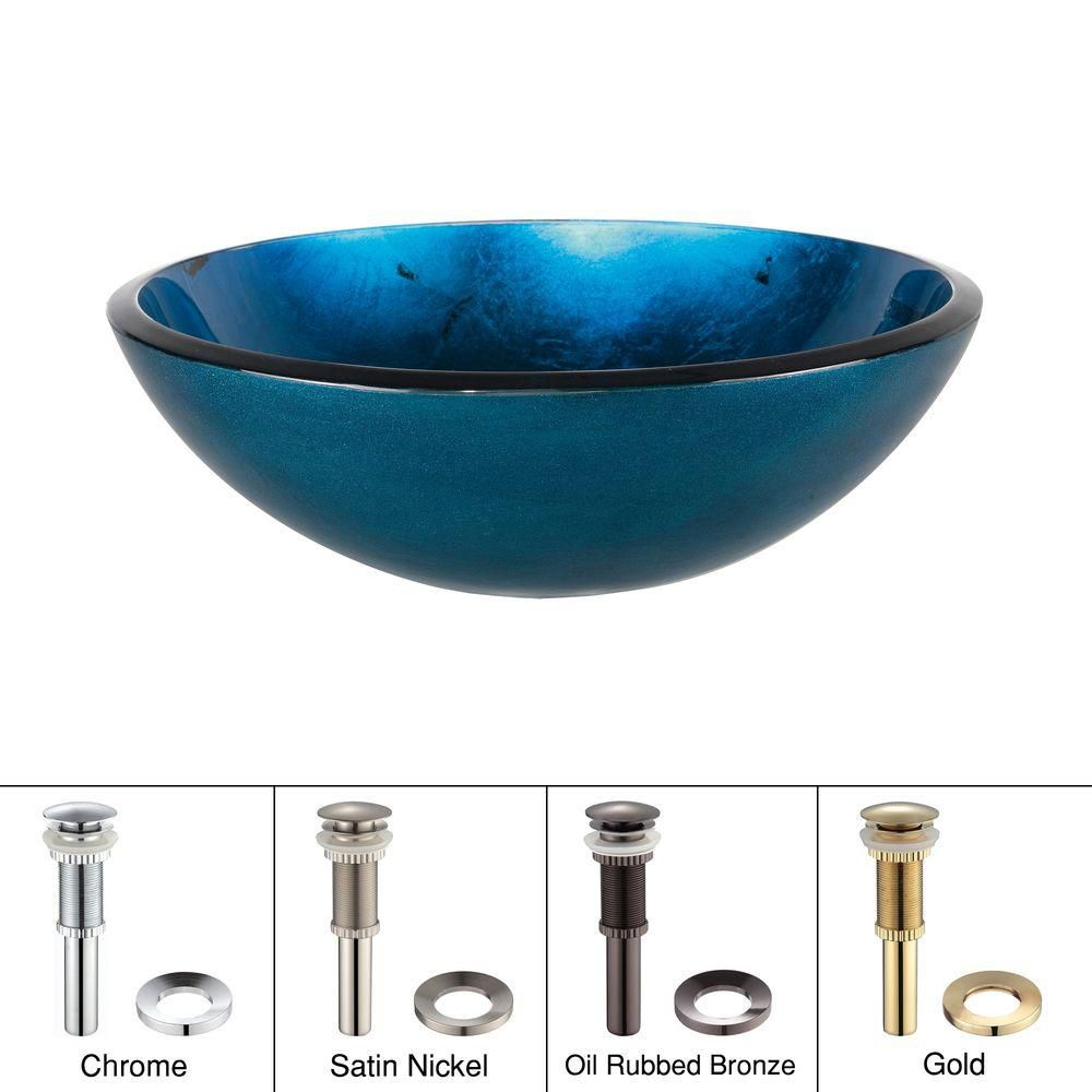 Irruption Glass Vessel Sink in Blue with Drain in Chrome