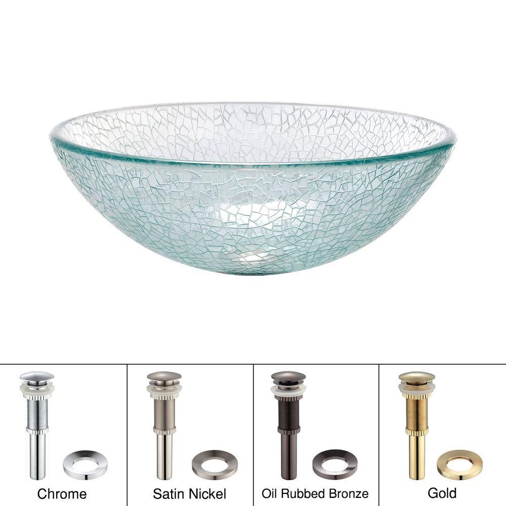 Glass Vessel Sink in Mosaic with Drain in Satin Nickel