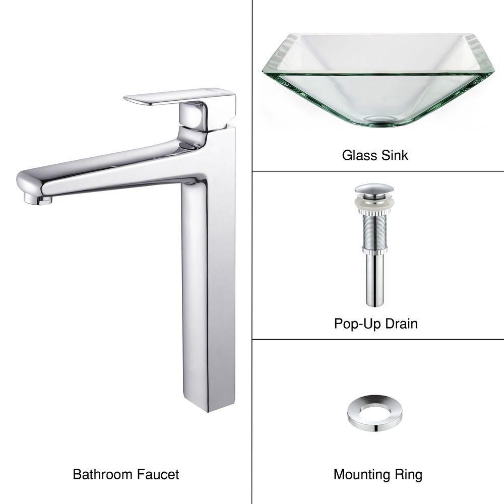 Clear Glass Vessel Sink in Aquamarine with Virtus Faucet in Chrome