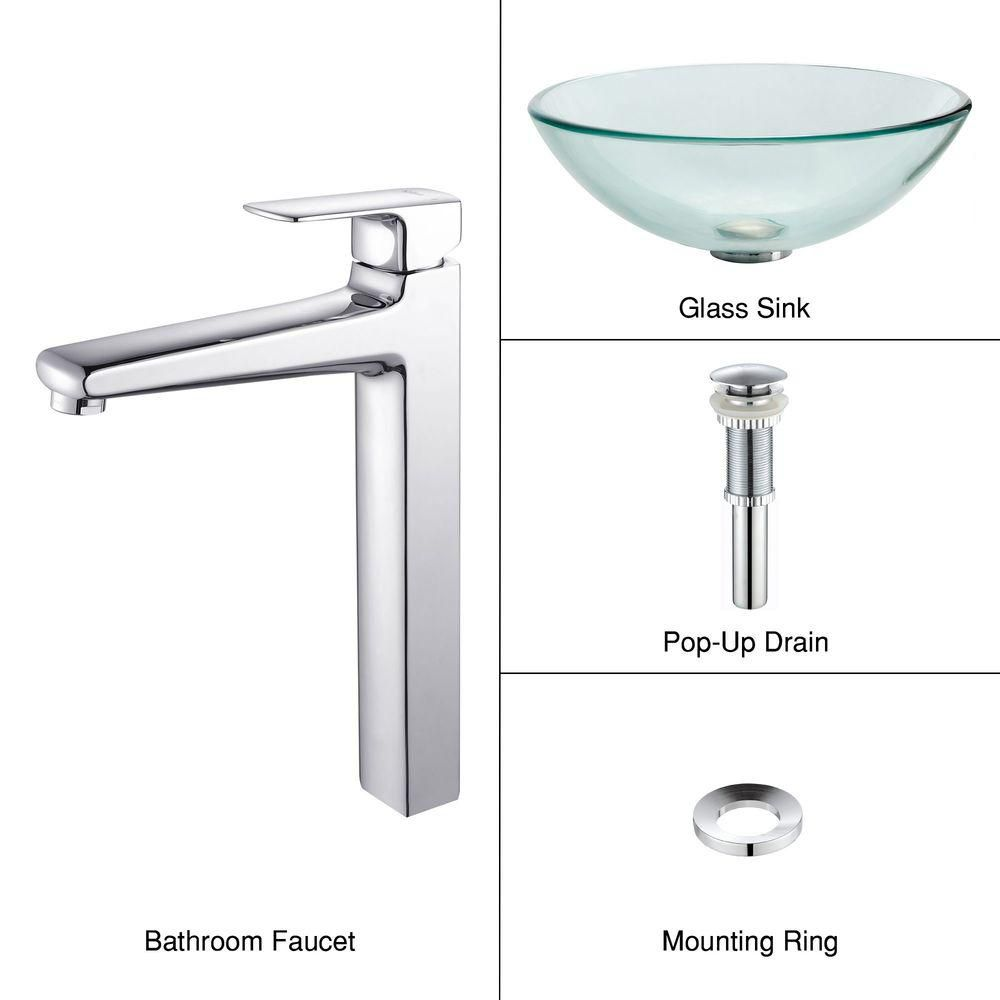 Clear Glass Vessel Sink with Virtus Faucet in Chrome