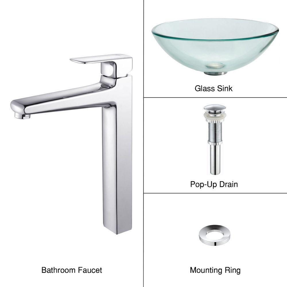 Lavabo-vasque en verre transparent et robinet Virtus, chrome