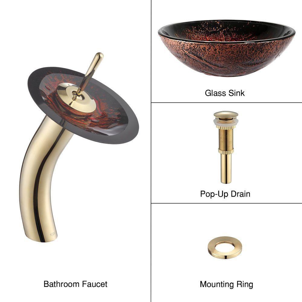 kraus lavabo vasque en verre lava et robinet cascade or. Black Bedroom Furniture Sets. Home Design Ideas