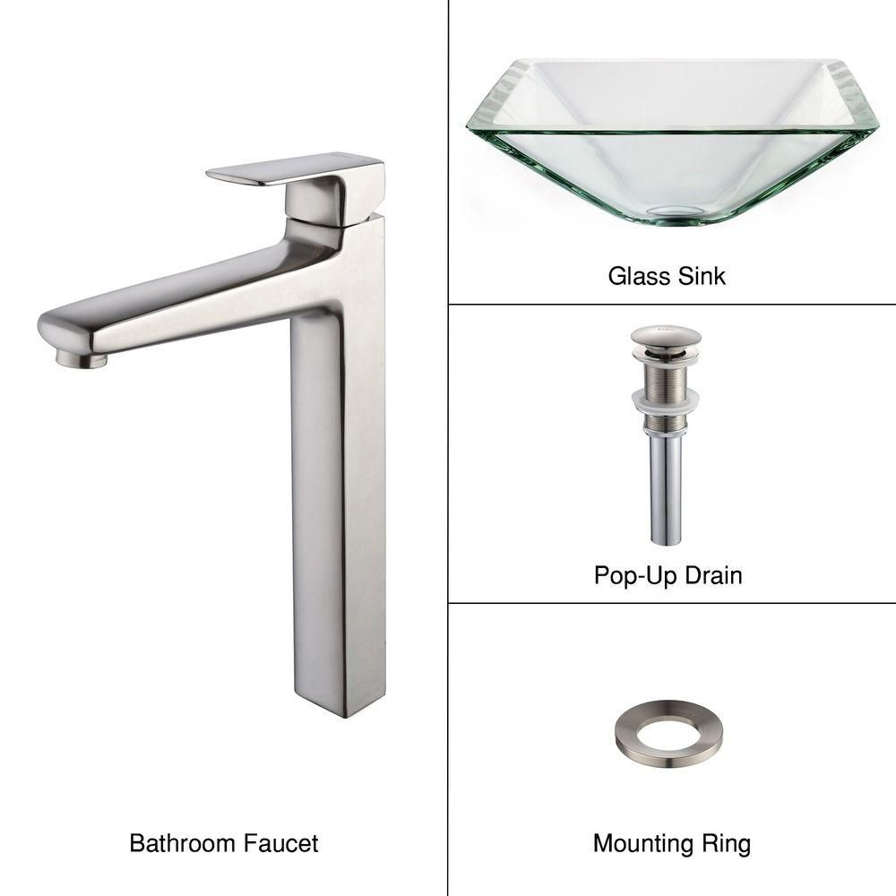 Clear Glass Vessel Sink in Aquamarine with Virtus Faucet in Brushed Nickel