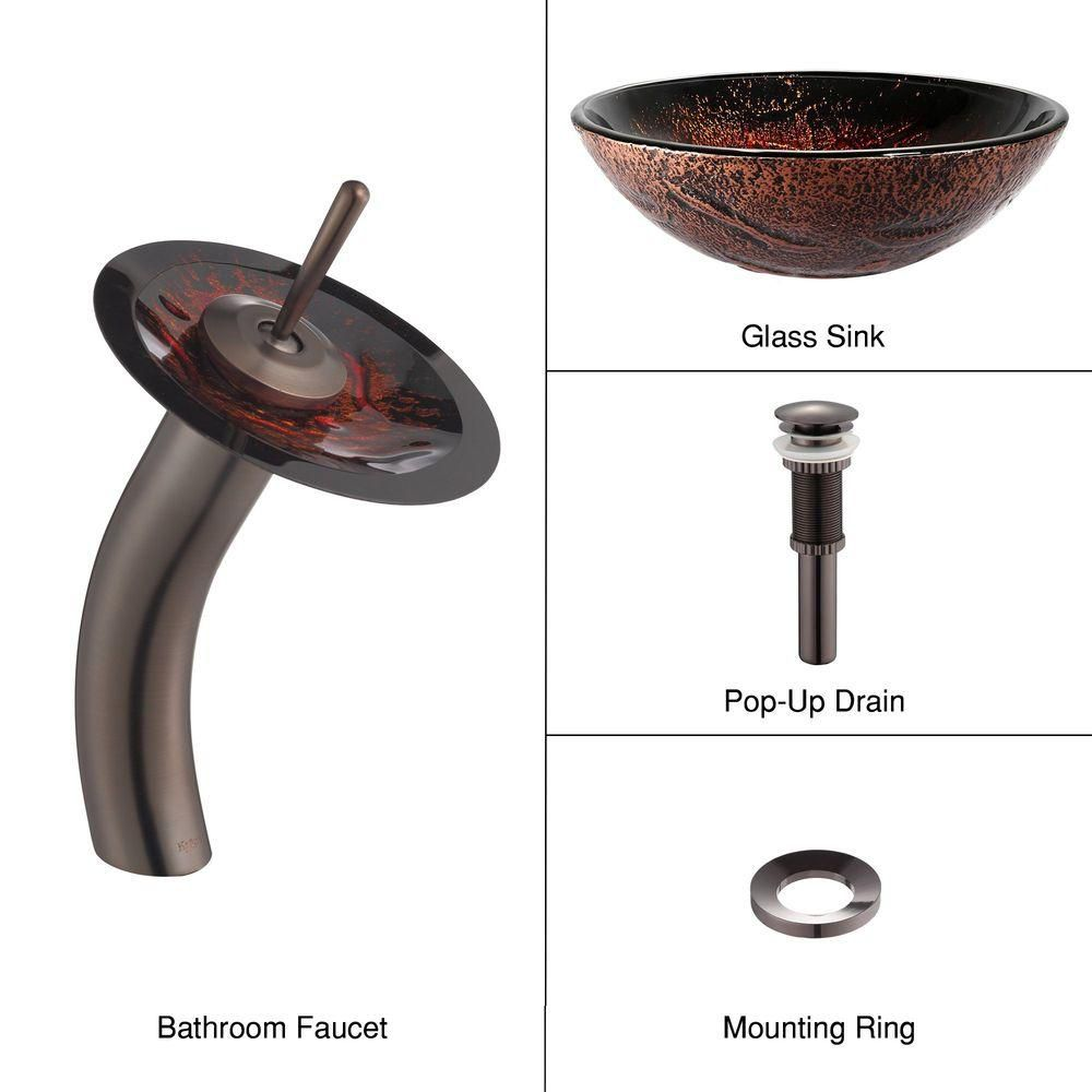 Lava Glass Vessel Sink with Waterfall Faucet in Oil-Rubbed Bronze