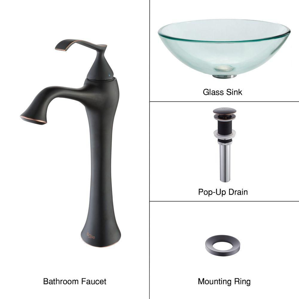 Clear Glass Vessel Sink with Ventus Faucet in Oil-Rubbed Bronze