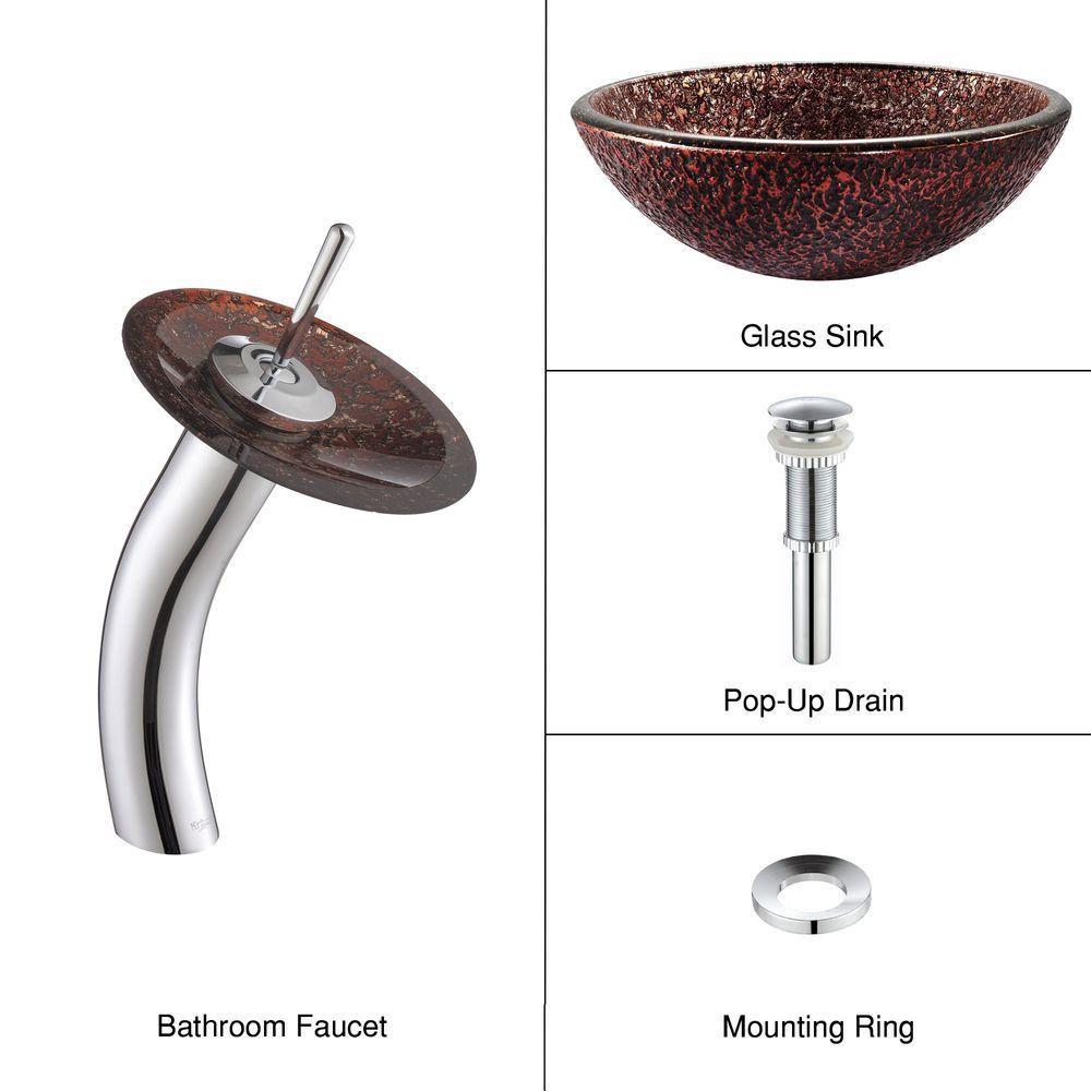 Lavabo-vasque en verre Venus et robinet à cascade, chrome