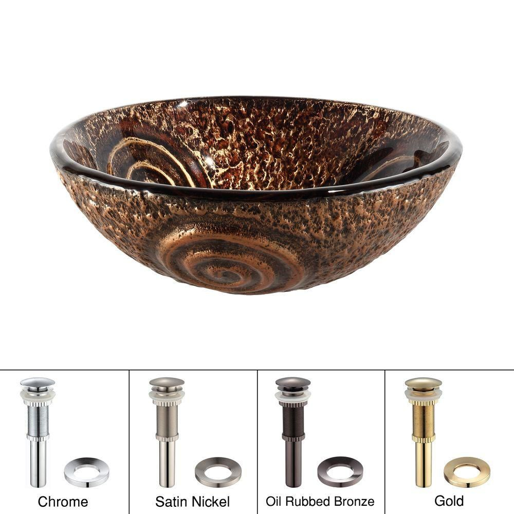 Luna Glass Vessel Sink with Drain in Oil-Rubbed Bronze