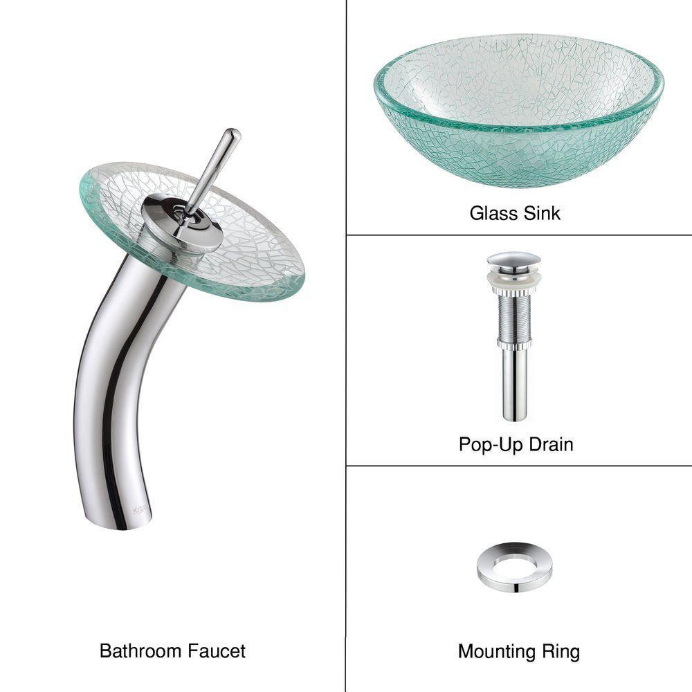 Lavabo-vasque en verre mosaïque 35,6 cm (14 po) et robinet à cascade, chrome
