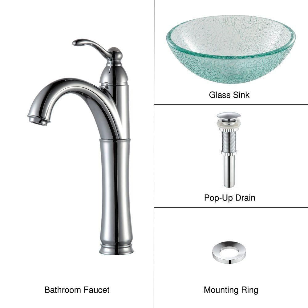 14-inch Glass Vessel Sink in Mosaic with Riviera Faucet in Chrome
