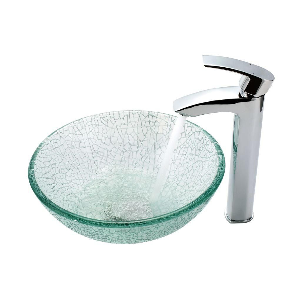 Kraus Mosaic Glass 14 Inch Vessel Sink and Visio Faucet Chrome The ...