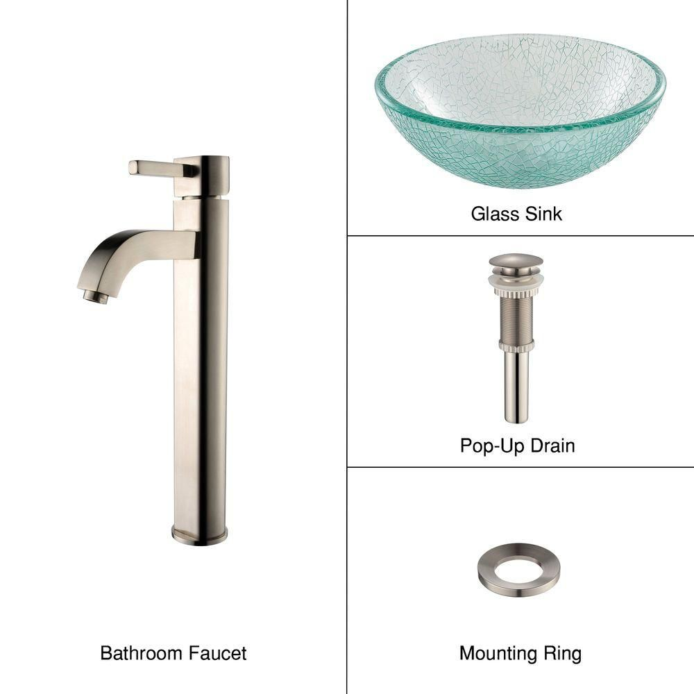 14-inch Glass Vessel Sink in Mosaic with Ramus Faucet in Satin Nickel