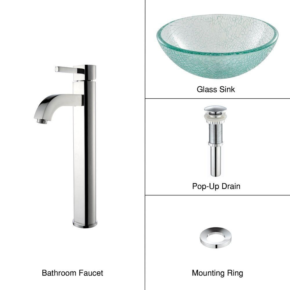 14-inch Glass Vessel Sink in Mosaic with Ramus Faucet in Chrome