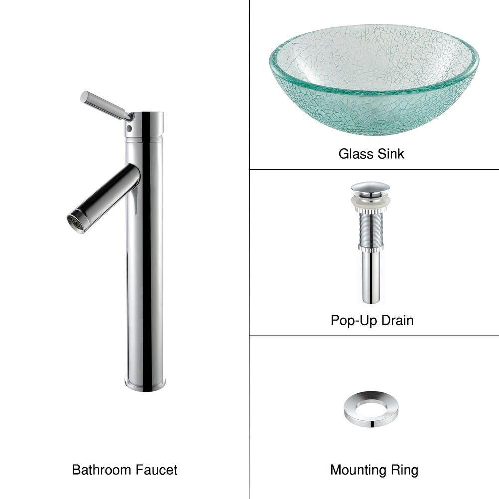 14-inch Glass Vessel Sink in Mosaic with Sheven Faucet in Chrome