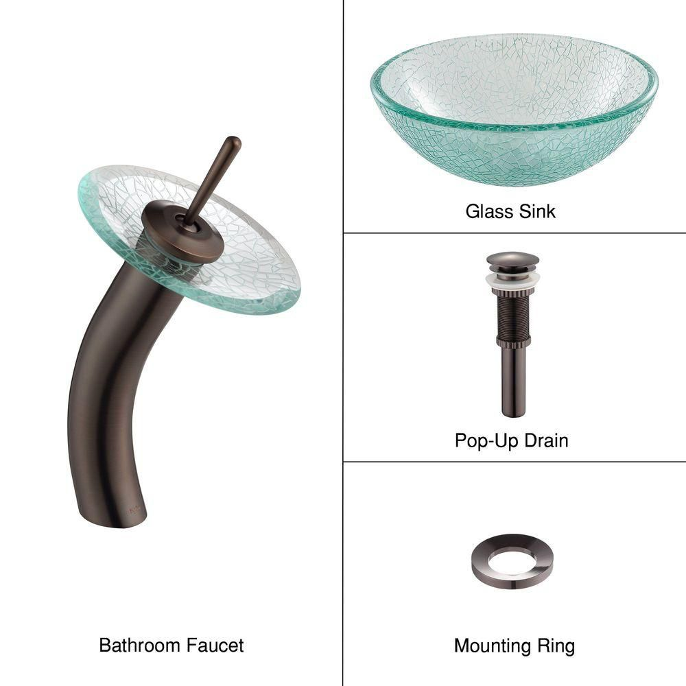 14-inch Glass Vessel Sink in Mosaic with Waterfall Faucet in Oil-Rubbed Bronze
