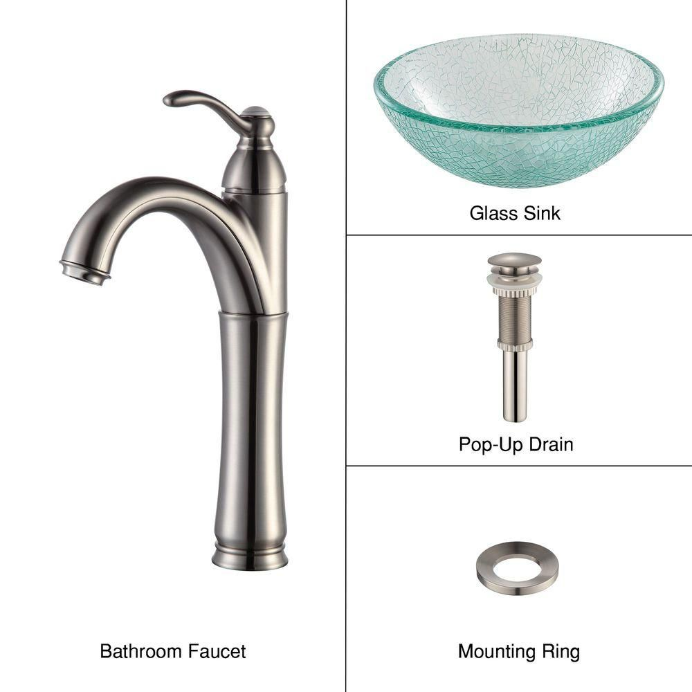 14-inch Glass Vessel Sink in Mosaic with Riviera Faucet in Satin Nickel