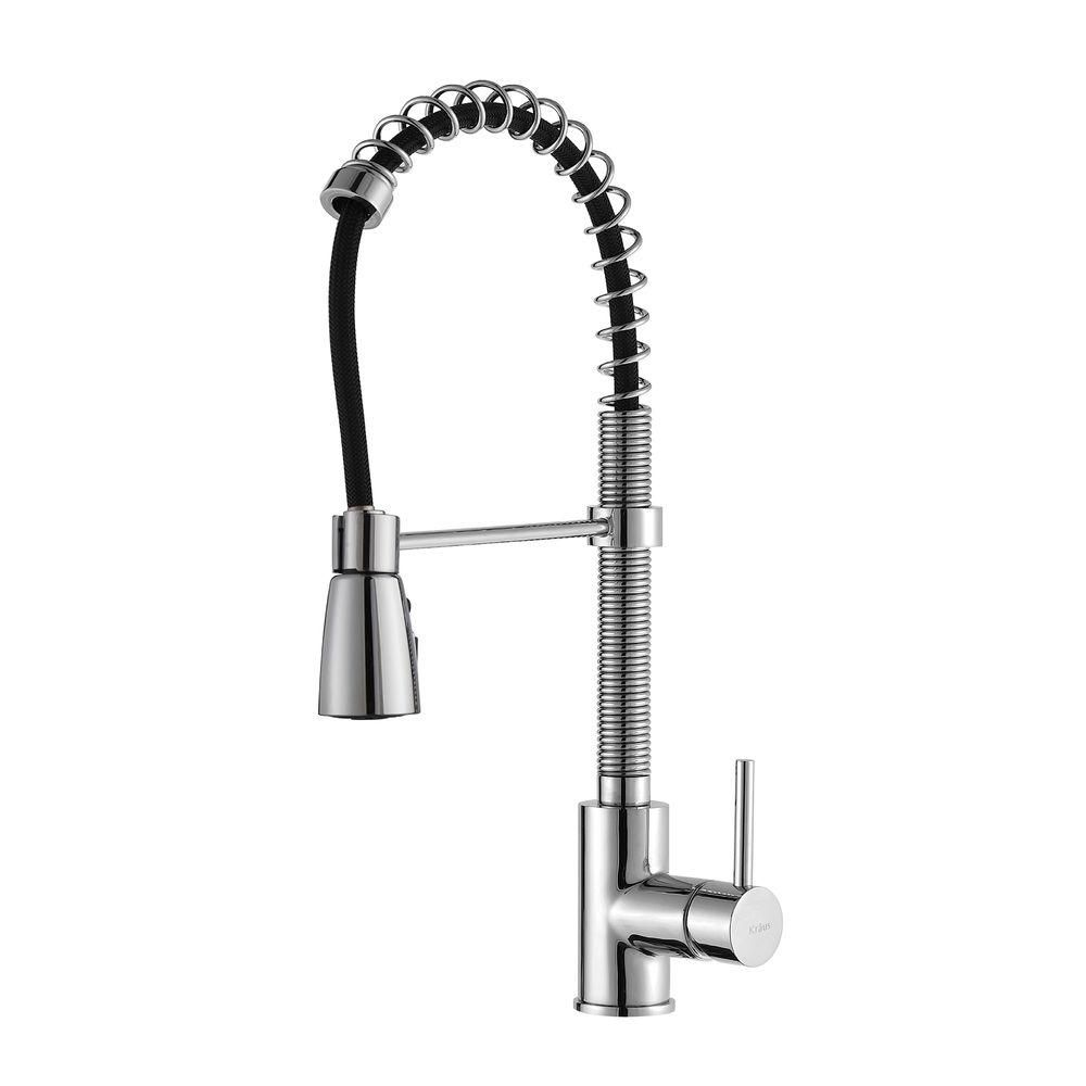 Kraus Commercial-Style Single-Handle Pull-Down Kitchen Faucet with 3-Function Sprayer