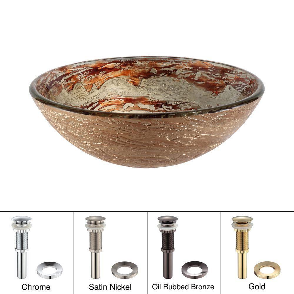 Lavabo-vasque en verre Ares avec drain escamotable et anneau de montage, nickel satiné