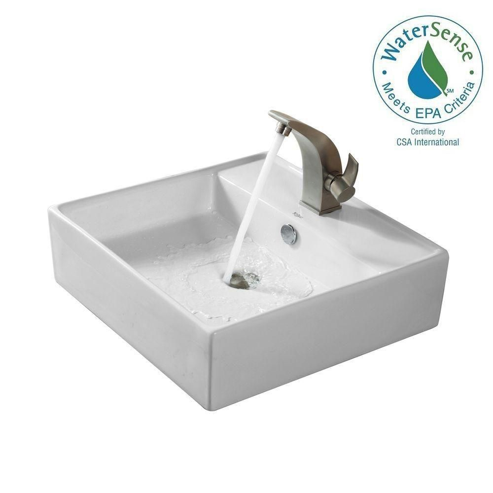 Square Ceramic Sink in White with Illusio Basin Faucet in Brushed Nickel