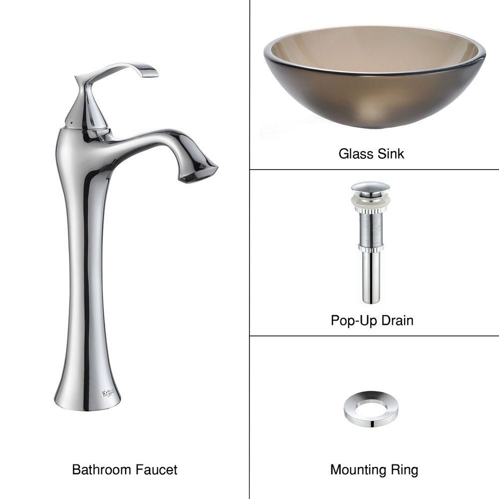Frosted Glass Vessel Sink in Brown with Ventus Faucet in Chrome