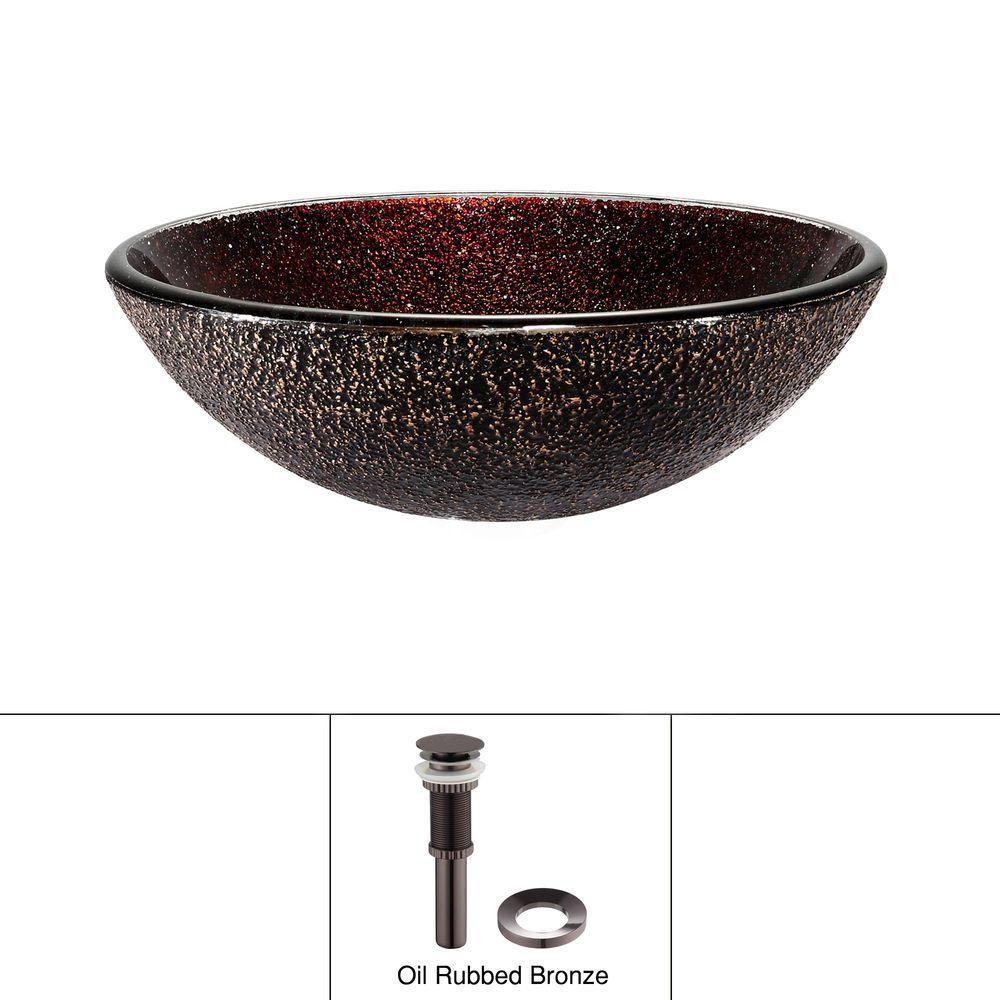 Glass Vessel Sink in Callisto with Drain in Oil-Rubbed Bronze