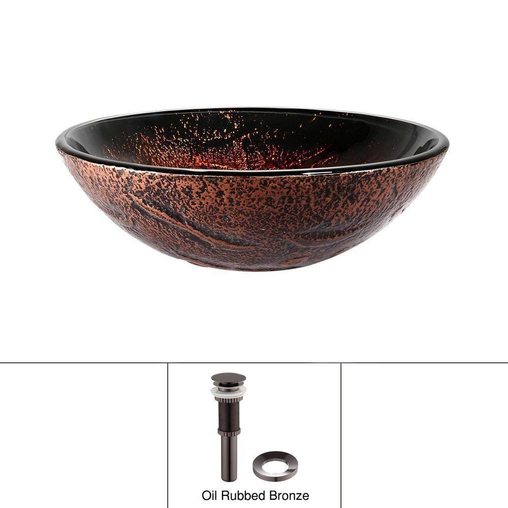 Lavabo-vasque en verre Lava avec drain escamotable et anneau de montage, bronze huilé