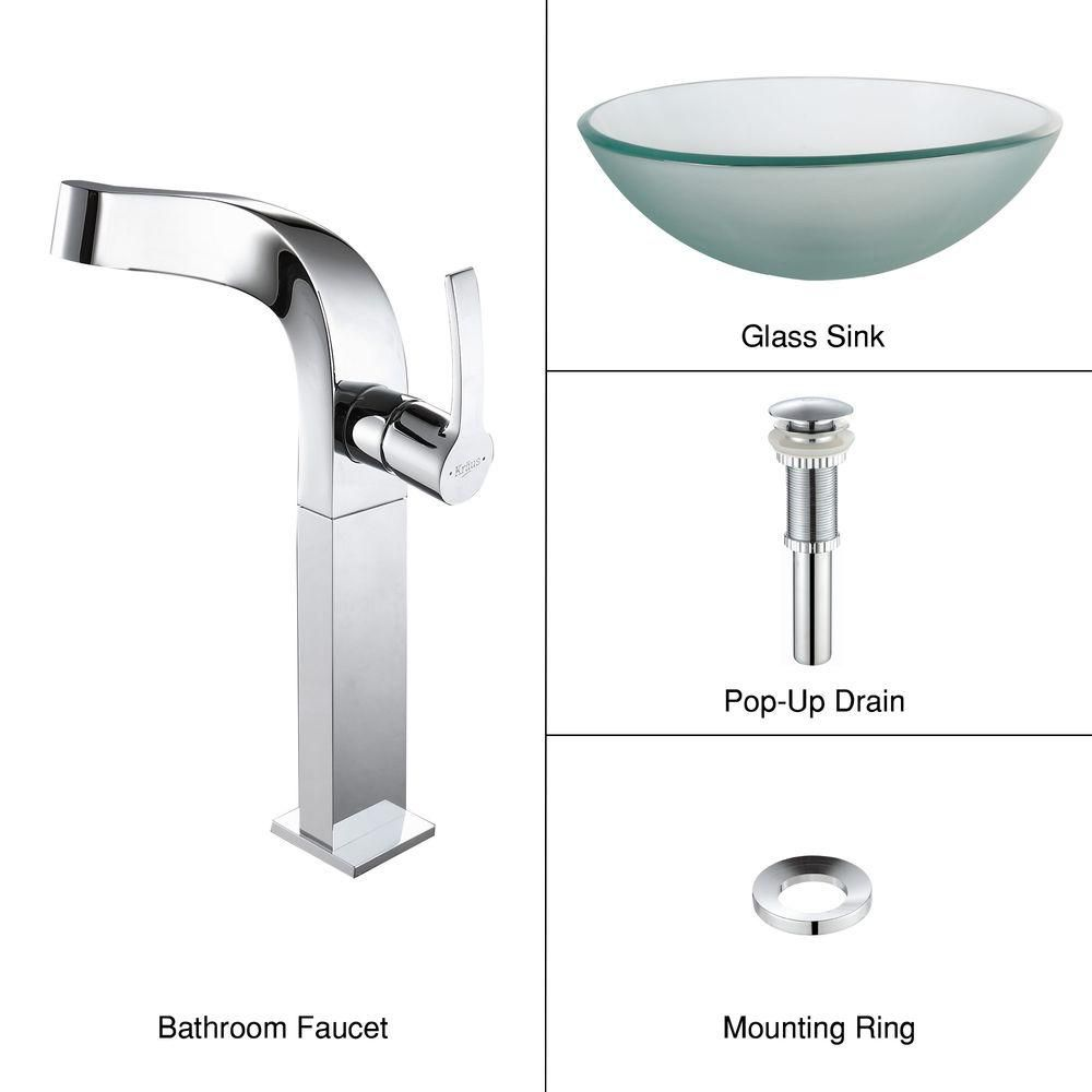 Frosted Glass Vessel Sink with Typhon Faucet in Chrome