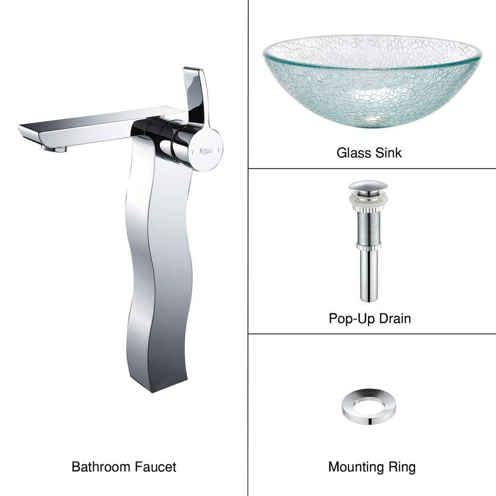 Glass Vessel Sink in Mosaic with Sonus Faucet in Chrome