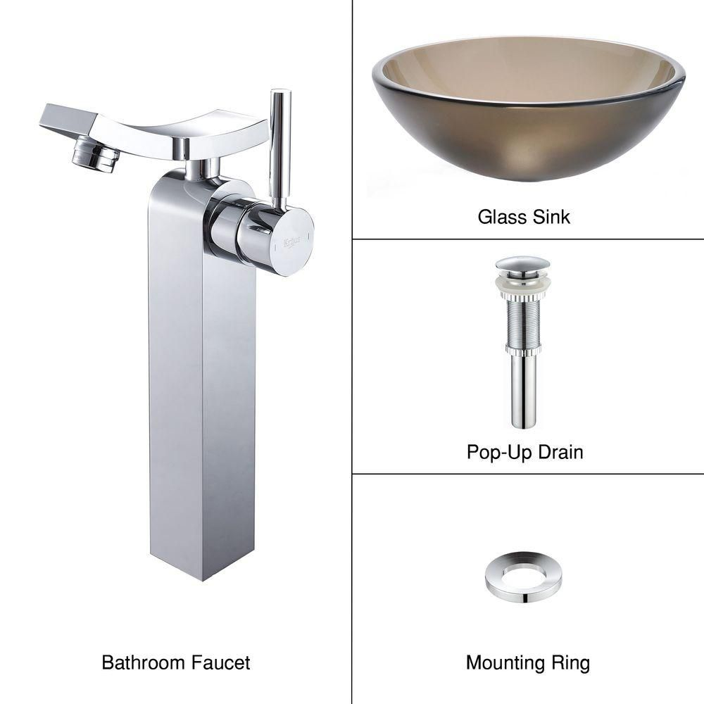Frosted Glass Vessel Sink in Brown with Unicus Faucet in Chrome