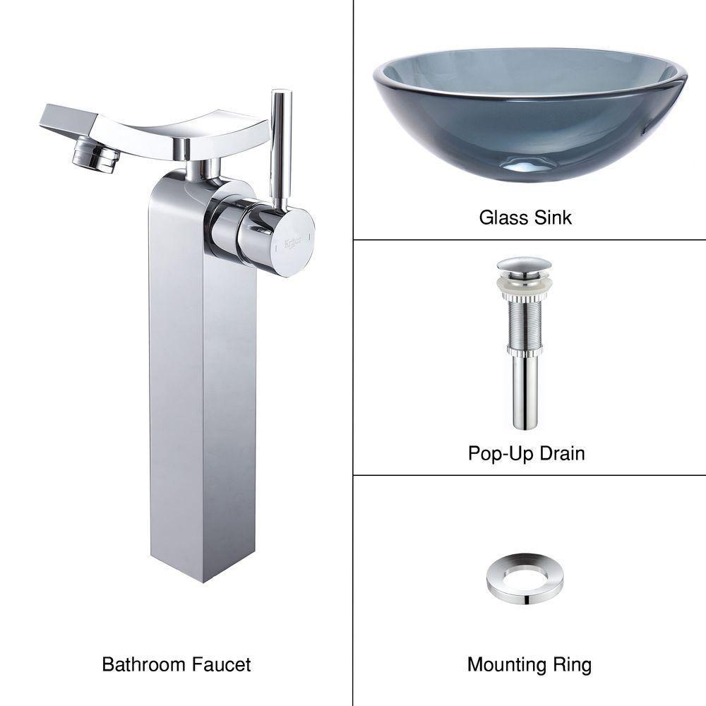 Lavabo-vasque en verre noir transparent et robinet Unicus, chrome