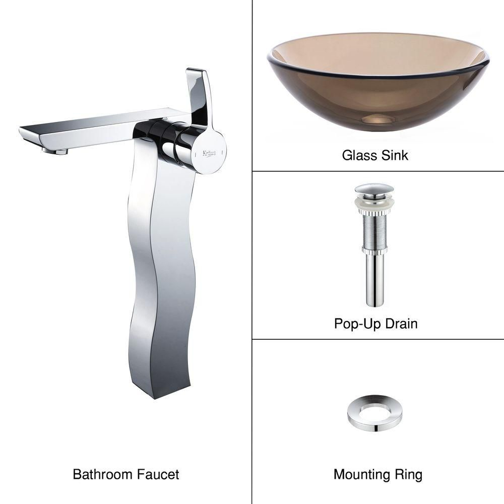 Clear Glass Vessel Sink in Brown with Sonus Faucet in Chrome