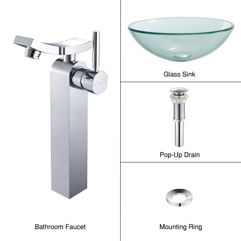 Clear Glass Vessel Sink with Unicus Faucet in Chrome