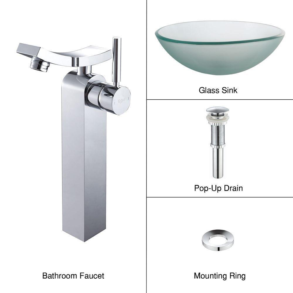 Lavabo-vasque en verre givré et robinet Unicus, chrome