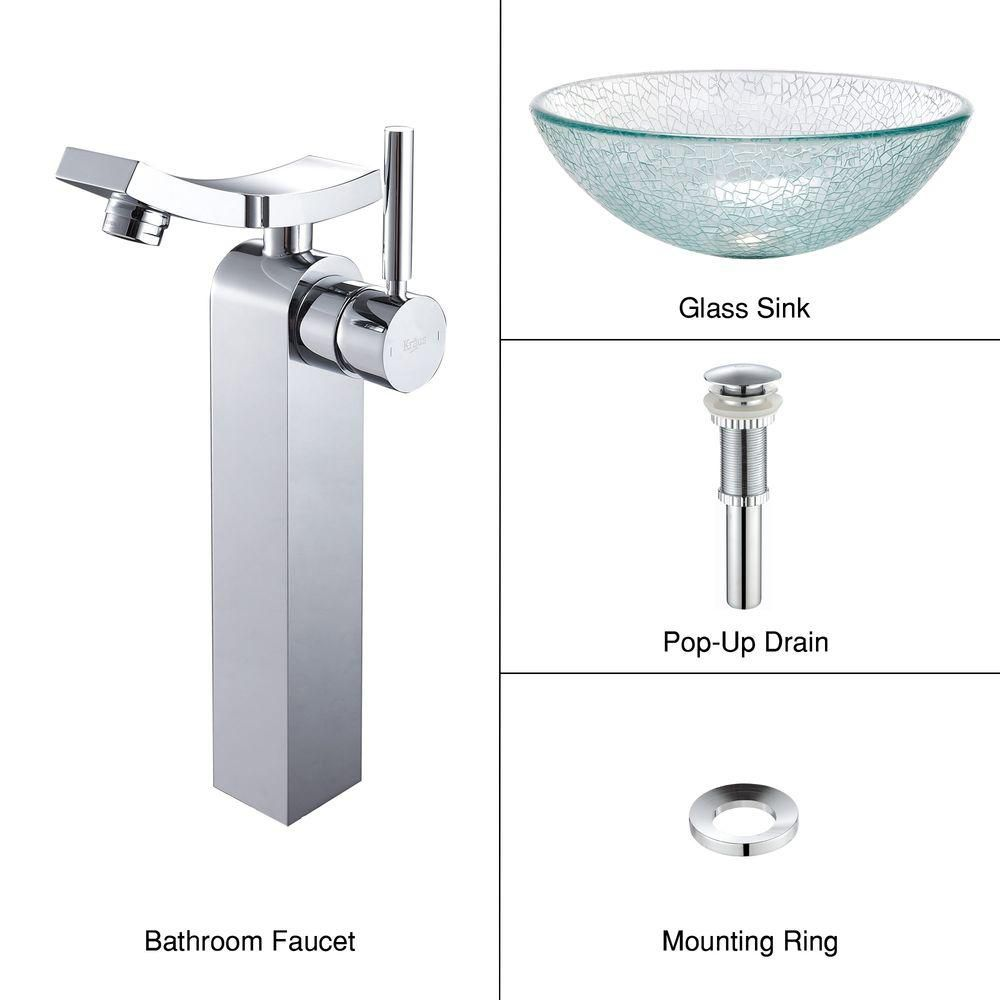 Glass Vessel Sink in Mosaic with Unicus Faucet in Chrome