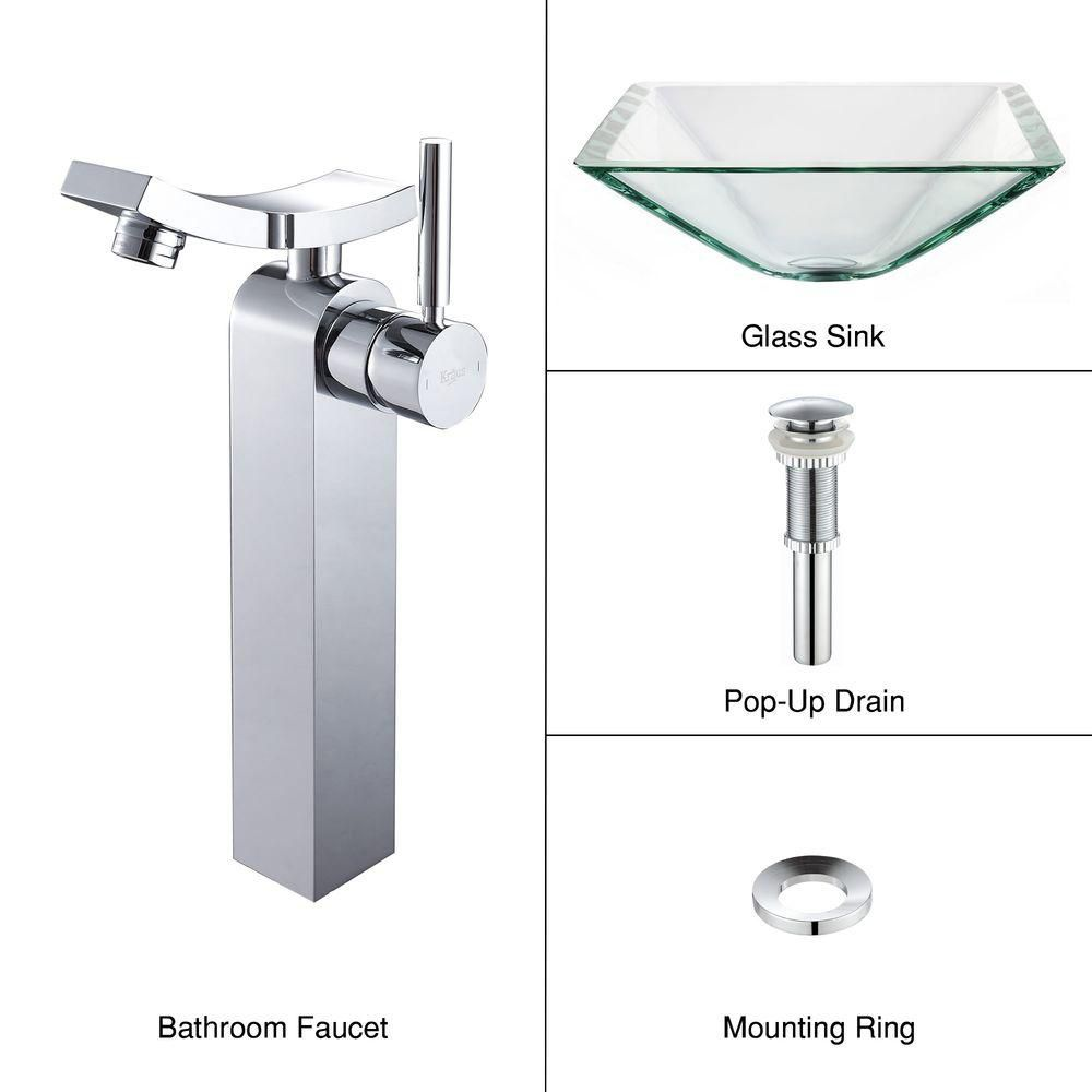 Clear Glass Vessel Sink in Aquamarine with Unicus Faucet in Chrome